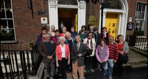 A group from the Irish Elderly Advice Network outside Cassidy's Hotel in Parnell Square after arriving in Dublin for the Gathering in 2013.  Photograph: Brenda Fitzsimons /The Irish Times