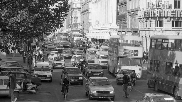 Traffic in O'Connell Street Dublin circa October 1982. (Part of the Independent Newspapers Ireland/NLI Collection). Photograph: Independent News And Media/Getty Images
