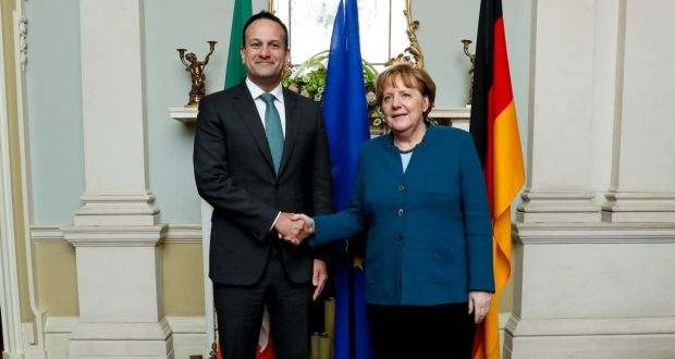 Taoiseach Leo Varadkar and German chancellor Angela Merkel at Farmleigh House in April. Photograph: Maxwell Photography