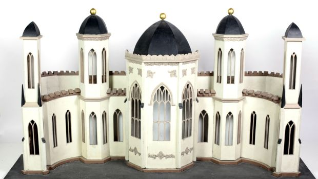 Lot 474: An Irish carved wooden Diorama, model of a Gothic building, €800 - €1,000