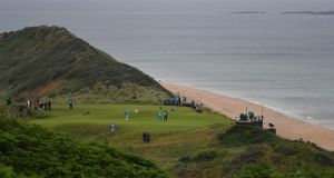 The stunning Par 4 fifth hole at Royal Portrush. Photograph: Paul Ellis/AFP