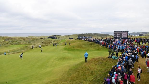 The Par 3 16th hole, aptly named Calamity Corner, on the Dunluce Links at Royal Portrush. Photograph: Stuart Franklin/Getty Images