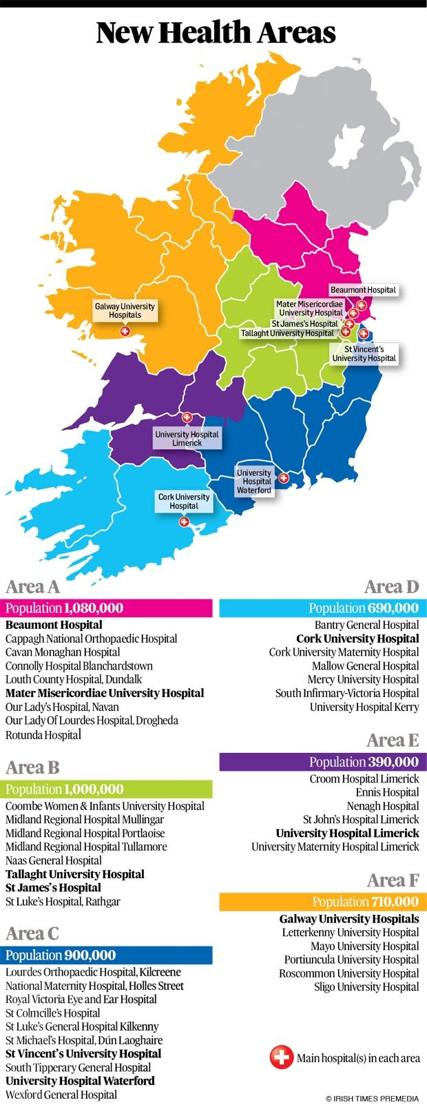Regional Map Of Ireland.Health And Social Care To Be Delivered Through Six New Regions