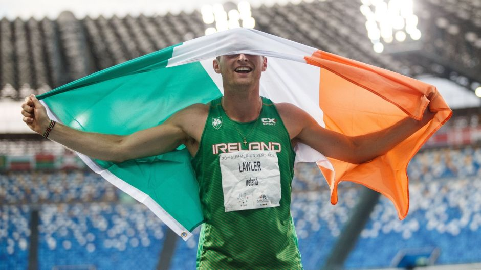Ireland's Marcus Lawler celebrates winning bronze in the 200m final at World University Games, in Stadio San Paulo, Naples, Italy. Photograph:  Tommy Dickson/Inpho