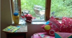 The missiles smashed the window of the bedroom at 1.30pm, a time when baby Saara Uddin usually had her afternoon nap.