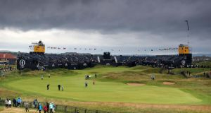 A view of the 18th grandstand at Royal Portrush on Wednesday. Photograph: David Davies/PA Wire.