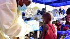 A Congolese health worker administers ebola vaccine to a child at the Himbi Health Centre in Goma, Democratic Republic of Congo. Photograph: Reuters