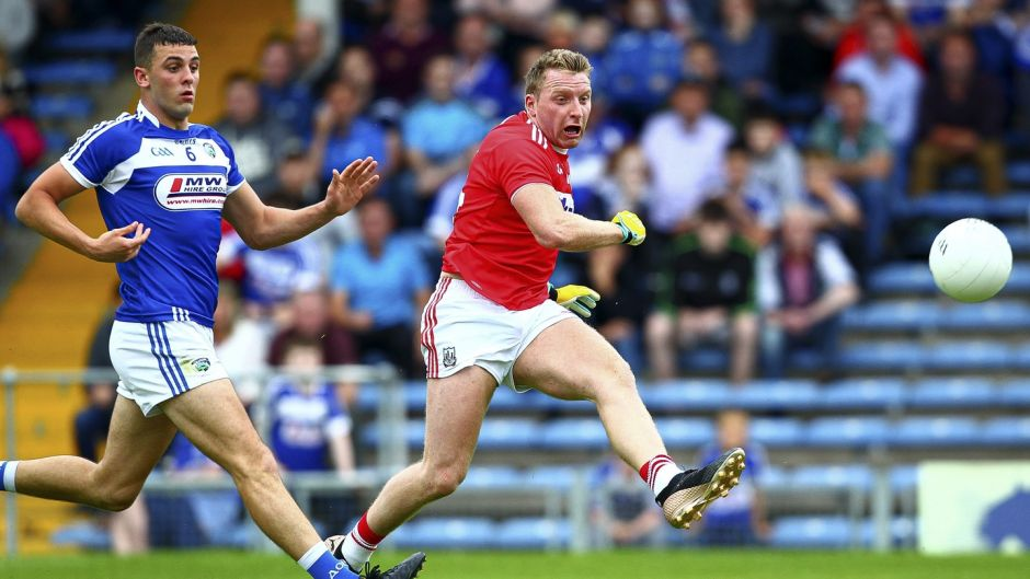 Cork's Brian Hurley scores his side's second goal against Laois, he has already scored 5-7 in the championship. Photograph: Ken Sutton/Inpho