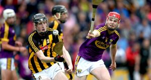 Kilkenny's David Blanchfield and Conall Clancy of Wexford during the Leinster  Under-20 Hurling Championship final at Innovate Wexford Park on Wednesday. Photograph: Bryan Keane