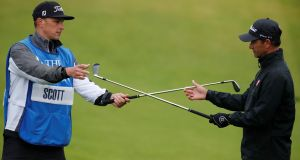 Australia's Adam Scott with his caddie during a practice round at Royal Portrush on Wednesday. Photograph: Paul Childs/Reuters