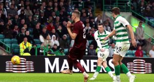 Celtic's Callum McGregor scores the winning goal at Celtic Park. Photograph: Andrew Milligan/PA Wire