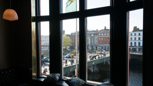 View from Roberta's restaurant in East Essex St, Dublin. Photograph: Dave Meehan/The Irish Times