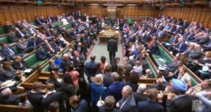 Members of parliament convening for the announcement of voting on the 'Benn Amendment' in the House of Commons. Photograph: UK Parliamentary Recording Unit