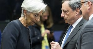 Christine Lagarde and Mario Draghi. They both agree central banks should step in if inflation is weak. Photograph: Getty Images