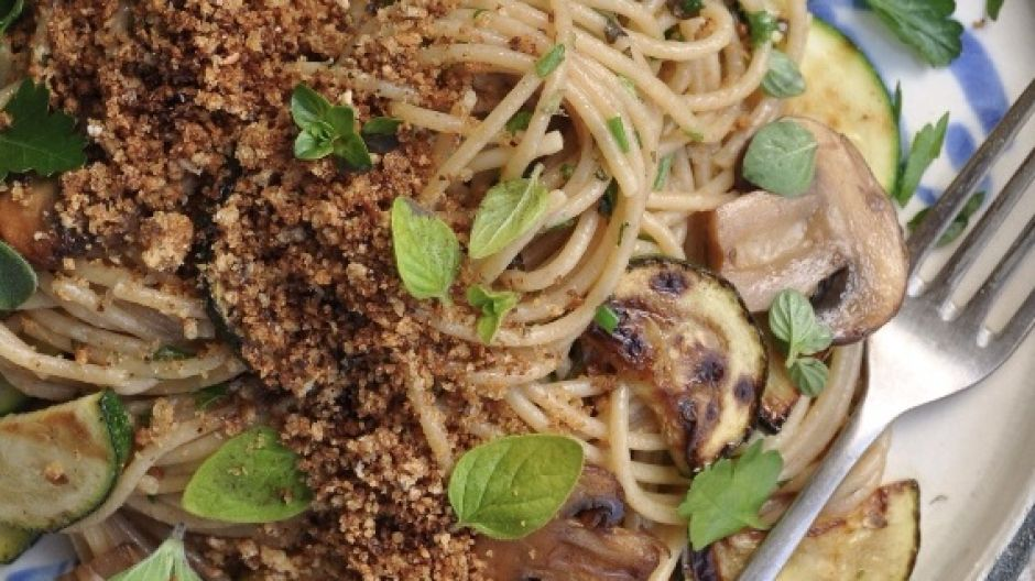 Mushrooms and marjoram with spaghetti and garlic crumbs.