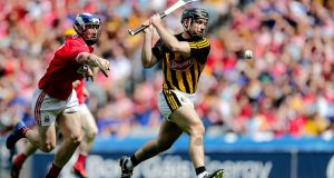Kilkenny's Richie Hogan scores against Cork.  A goal soon after half-time is different. It does more psychological damage to the opposition.   Photograph:    Laszlo Geczo/Inpho
