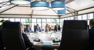 Jerome Powell, chairman of the US Federal Reserve, Steven Mnuchin, US treasury secretary, Melinda Gates, co-chair of the Bill and Melinda Gates Foundation, and David Malpass, president of the World Bank Group,   at the G7  meeting in Chantilly, France