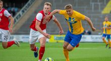 St Pat's Ciaran Kelly in action against IFK Norrkoping during last night's Uefa Europa League clash at  Nya Parken. , Photograph: IFK/Inpho