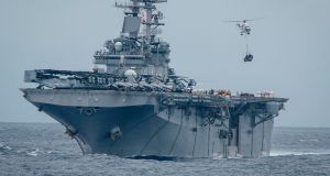 A file image of the USS Boxer. File photograph: L/Cpl Israel Chincio/US Marine Corps via The New York Times