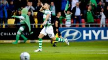 Shamrock Rovers' Jack Byrne celebrates scoring their first goal. Photograph: Ryan Byrne/Inpho