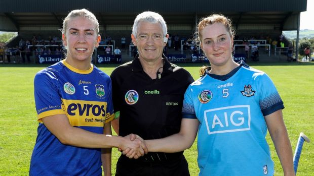 Right, Dublin senior camogie captain Róisín Baker at the Tipperary vs Dublin match with Tipperary's Quirke and referee Cathal Egan. Photograph: ©INPHO/Lorraine O'Sullivan