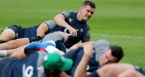 Johnny Sexton at Ireland Rugby open training at Thomond Park, Limerick on Friday.  Photograph: Dan Sheridan/Inpho