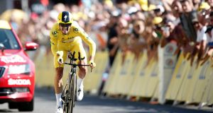 France's Julian Alaphilippe took the 13th stage of the Tour de France. Photograph: guillame Horcajuelo/EPA