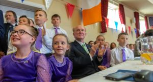 US ambassador to Ireland Ed Crawford (centre) with members of the Boherbue Set Dancers during his visit to his ancestral home in Boherbue, Co Cork on Friday. Photograph: Michael Mac Sweeney/Provision