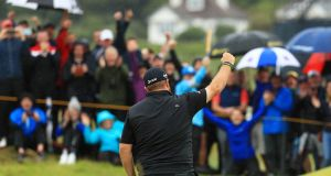 Shane Lowry shares the halfway lead int he British Open at Royal Portrush. Photograph: Mike Ehrmann/Getty