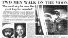 'Two men walk on the Moon': A section of the front page of The Irish Times on July 21st, 1969