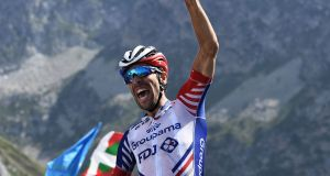 France's Thibaut Pinot celebrates as he wins the 14th stage of the Tour de France cycling race at Tourmalet Bareges. Photo: Getty Images