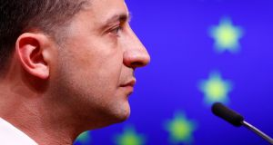 Ukrainian president Volodymyr Zelenskiy holds a news conference after meeting European Council president Donald Tusk in Brussels, Belgium, June 5th, 2019. Photograph: Francois Lenoir/File Photo/Reuters