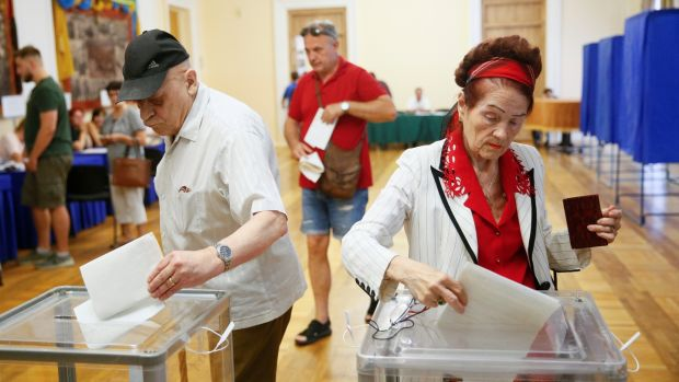 Voters cast their ballots at a polling station during a parliamentary election in Kiev, Ukraine July 21st, 2019. Photograph: Gleb Garanich/Reuters