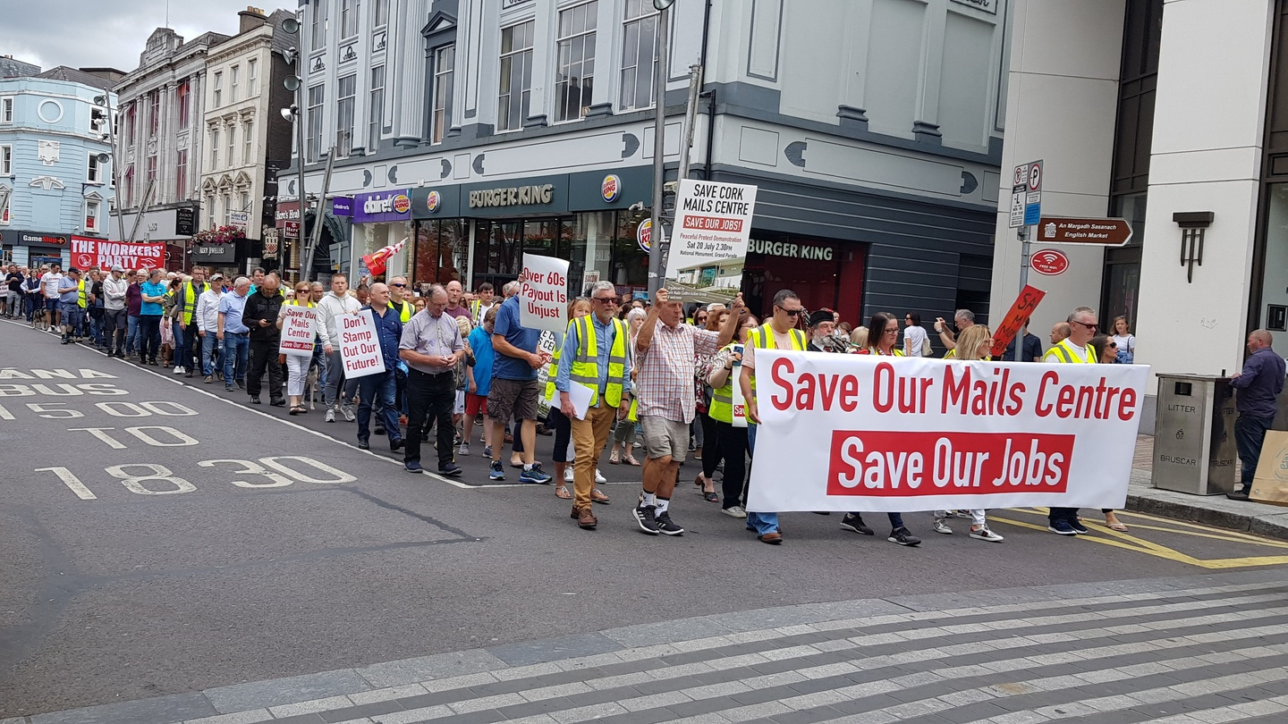 An Post workers protest in Cork as mail centre faces closure