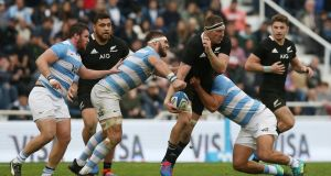 Brodie Retallick looks to offload during New Zealand's win over Argentina in Buenos Aires. Photograph: Agustin Marcarian/Reuters