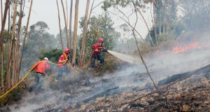 Firefighters try to extinguish a wildfire at Sarnada, near Macao, on Sunday.   Photograph: Paulo Novais/EPA