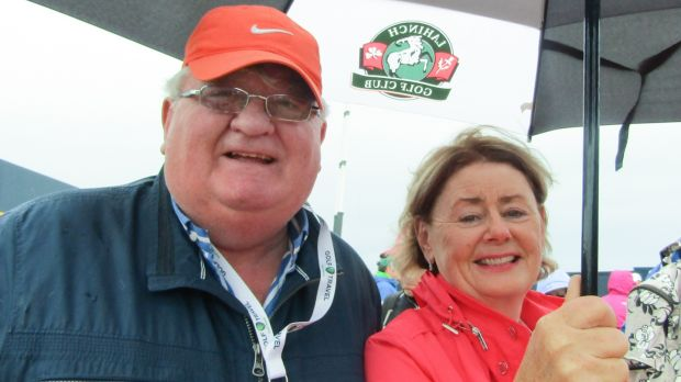 Brian and Mary O'Higgins from Oranmore, Co Galway, at the Open. Photograph: Freya McClements