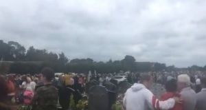 Several hundred people were gathered in St Patrick's cemetery on Sunday for the blessing of the graves. Image: @Simonc46176551/Twitter