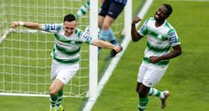 Aaron McEneff celebrates scoring Shamrock Rovers' fifth against UCD. Photograph: Laszlo Geczo/Inpho
