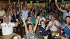 Supporters at Shane Lowry's home golf club, Esker Hills Golf Club, Tullamore, celebrate his victory. Photogrpah: Lorraine O'Sullivan/PA Wire