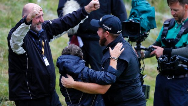 British Open champion Shane Lowry celebrates with mother Bridget and father Brendan. Photograph: Kevin C Cox/Getty Images