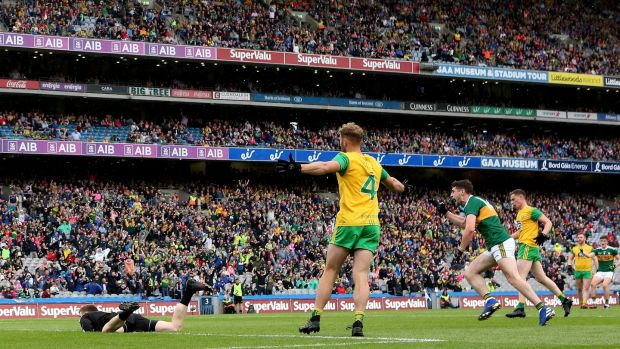 Kerry's Paul Geaney celebrates scoring a goal against Donegal. Photograph: James Crombie/Inpho