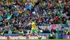 Donegal's Michael Murphy kicks a late free to equalise the game. Photograph: James Crombie/Inpho