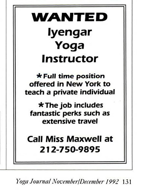 An advertisement placed in Yoga Journal in 1993, listing Miss Maxwell as a contact. Photograph: The New York Times