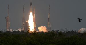 The Indian Space Research Organisation's Chandrayaan-2 launches at the Satish Dhawan Space Centre in Sriharikota, an island off the coast of southern India's Andhra Pradesh state, on Monday. Photograph: Arun Sankar/AFP/Getty Images
