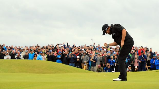 Shane Lowry reacts to his birdie putt on the 15th green during the final round of the British Open at Royal Portrush Golf Club on Sunday. Photograph: Mike Ehrmann/Getty Image