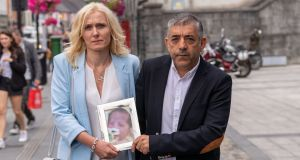 Ludmila Urkova and Aldo Marini   with a picture of  their baby Livia Angel Urkova-Marini at the inquest into the infant's death in Kilkenny. Photograph: Dylan Vaughan