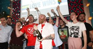 Members of the LGBT+ community celebrate at the Maverick bar, Belfast on July 9th as same-sex marriage in Northern Ireland came a step closer. Photograph:   Peter Morrison/PA Wire