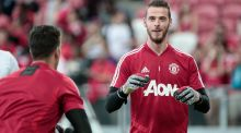 Manchester United's David de Gea (R) in action during a training session ahead of the International Champions Cup match between against Inter Milan at the National Stadium in Singapore. Photograph: Wallace Woon/EPA