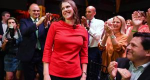 Jo Swinson after being named as the new leader of the Liberal Democrats at Proud Embankment in London on Monday. Photograph: Jeff J Mitchell/Getty Images